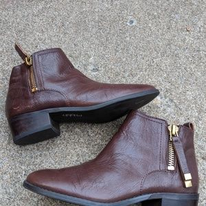 Franco Sarto Brown Leather Zip Up Booties Size 6